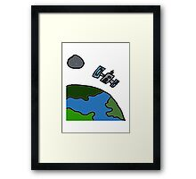 A Cartoon of earth from space Framed Print