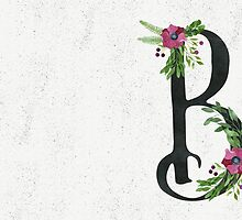 Letter B with Floral Wreaths by helga-wigandt