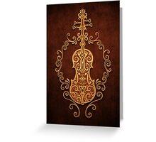 Aged Vintage Brown Tribal Violin Design Greeting Card