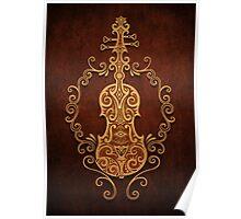 Aged Vintage Brown Tribal Violin Design Poster