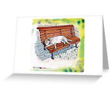 dog on bench Greeting Card