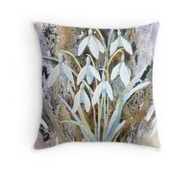 Snowdrops and bark Throw Pillow