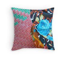 Close up of clothing patterns worn by a woman shopping at the market on Nusa Penida, Bali, Indonesia Throw Pillow