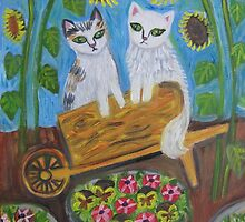 Garden Kitties by sharonkfolkart