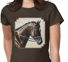 Bay Dressage Horse Painting Womens Fitted T-Shirt