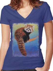 Cute Red Panda Women's Fitted V-Neck T-Shirt