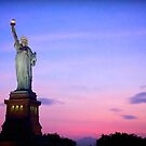 Sunset over Statue of Liberty by Fern Blacker