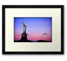 Sunset over Statue of Liberty Framed Print