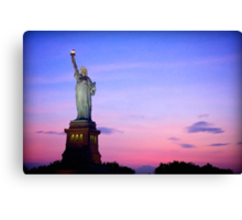 Sunset over Statue of Liberty Canvas Print