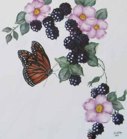 Blackberries, Wild Roses and Butterfly Sticker