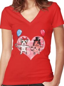 Kitty Loves Puppy by Tane (10) Women's Fitted V-Neck T-Shirt