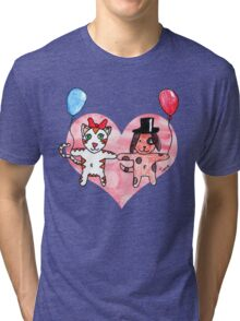 Kitty Loves Puppy by Tane (10) Tri-blend T-Shirt