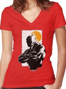Black Women's Fitted V-Neck T-Shirt