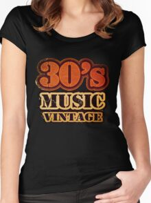 30's Music Vintage T-Shirt Women's Fitted Scoop T-Shirt