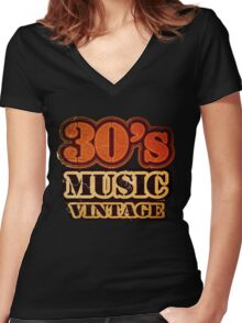 30's Music Vintage T-Shirt Women's Fitted V-Neck T-Shirt
