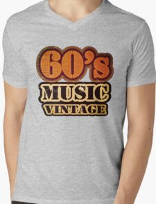 60's Music Vintage T-Shirt Mens V-Neck T-Shirt