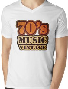 70's Music Vintage T-Shirt Mens V-Neck T-Shirt