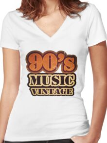 90's Music Vintage T-Shirt Women's Fitted V-Neck T-Shirt