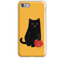 Crafty Cat with yellow background iPhone Case/Skin
