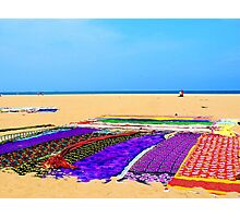 Saris drying on the beach Photographic Print