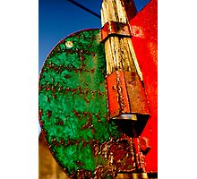 Abandoned Train Track Sign Photographic Print
