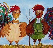 American Gothic Roosters Down on the Farm by EloiseArt