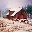 Winter hillside with shed by Dan Wilcox