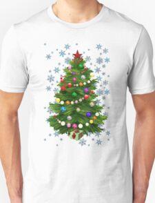 Christmas tree & snow on blue T-Shirt