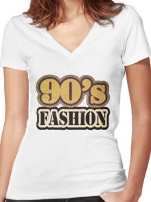 Vintage 90's Fashion - T-Shirt Women's Fitted V-Neck T-Shirt