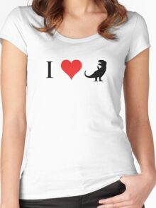 I Love Dinosaurs (small) Women's Fitted Scoop T-Shirt