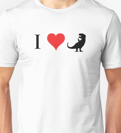 I Love Dinosaurs (small) Unisex T-Shirt