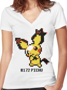 Spiky Eared Pichu Devamp  Women's Fitted V-Neck T-Shirt