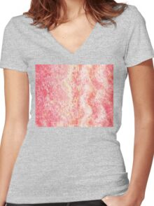 Cool Pink Wave Abstract  Women's Fitted V-Neck T-Shirt