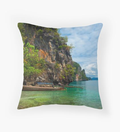 The Lone Long Boat Throw Pillow