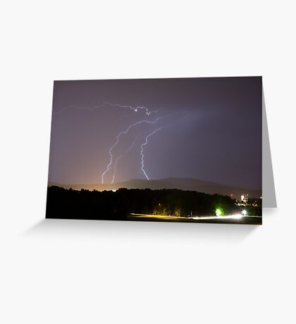 Lightning over residential area of Ljubljana Greeting Card