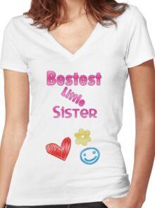 Bestest Little Sister Women's Fitted V-Neck T-Shirt