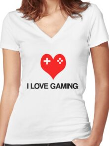 I Love Gaming Women's Fitted V-Neck T-Shirt