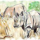 Two White Rhinos by Maree Clarkson