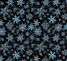 Embroidered Snowflakes on dark by Ivana Westin