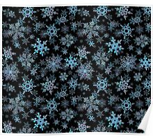Embroidered Snowflakes on dark Poster