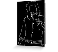 Harry Styles White Outline Greeting Card