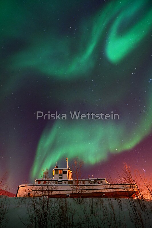 steamboat under northern lights by Priska Wettstein