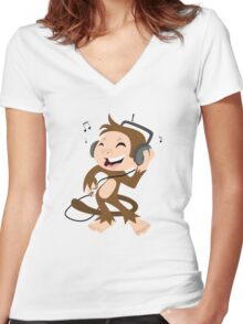 monkey dancing Women's Fitted V-Neck T-Shirt