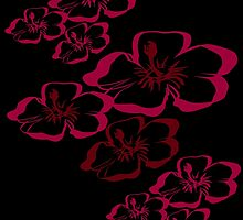 Tropical Red and Black Floral by CarolM