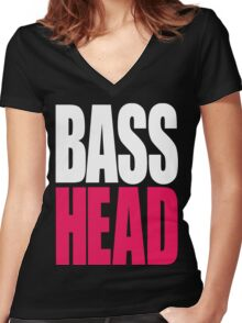 Bass Head (white/magenta)  Women's Fitted V-Neck T-Shirt