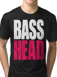 Bass Head (white/magenta)  Tri-blend T-Shirt