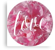 Bright Pink Peonies with Love Typography Canvas Print