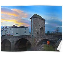 Monnow bridge, Monmouth, Wales, at sunset Poster