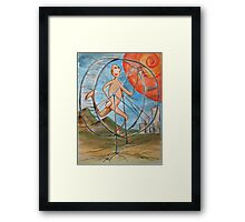 running to nowhere on the infinate hamster wheel Framed Print