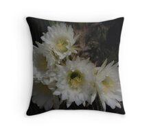 White Cactus Flowers Throw Pillow